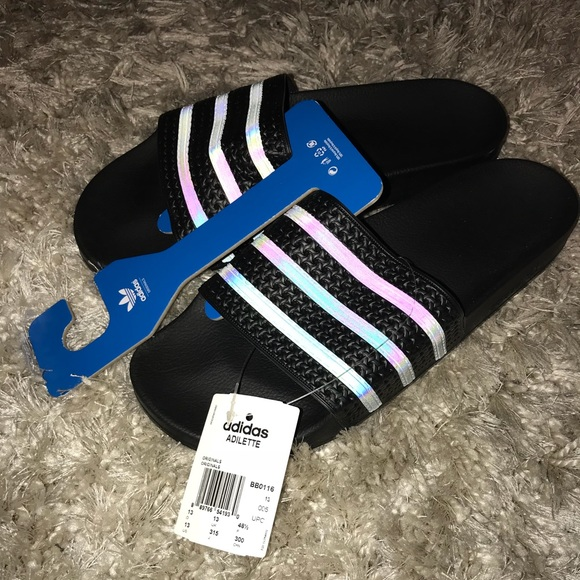 6d32896fd NEW Men 13 Adidas Adilette Black XENO Slides Italy